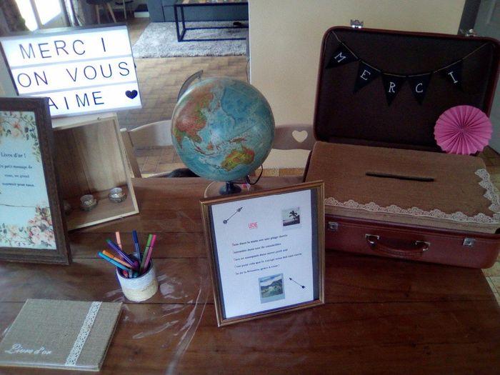 Voici ma table avec le livre d'or et l'urne