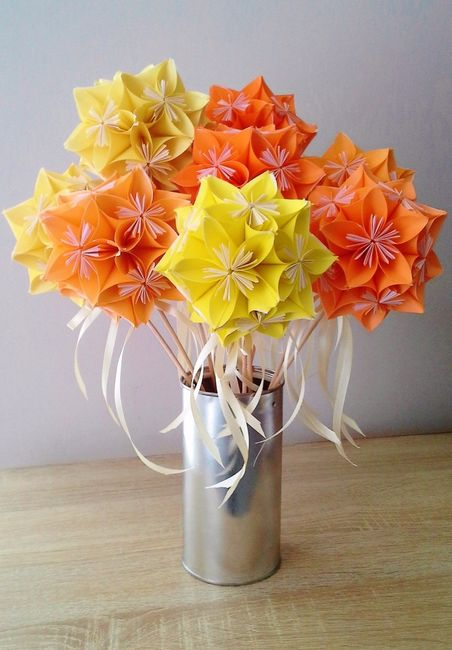 Voilà mon bouquet origami camaieu jaune-orange