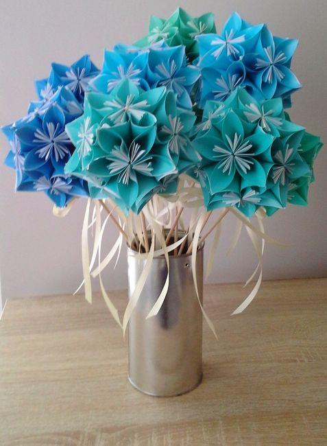 Et enfin le bouquet camaieu bleu-vert
