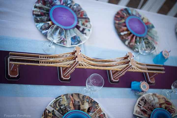 cocarde marque-place, pont de brooklyn pour relier les centres de table figurines