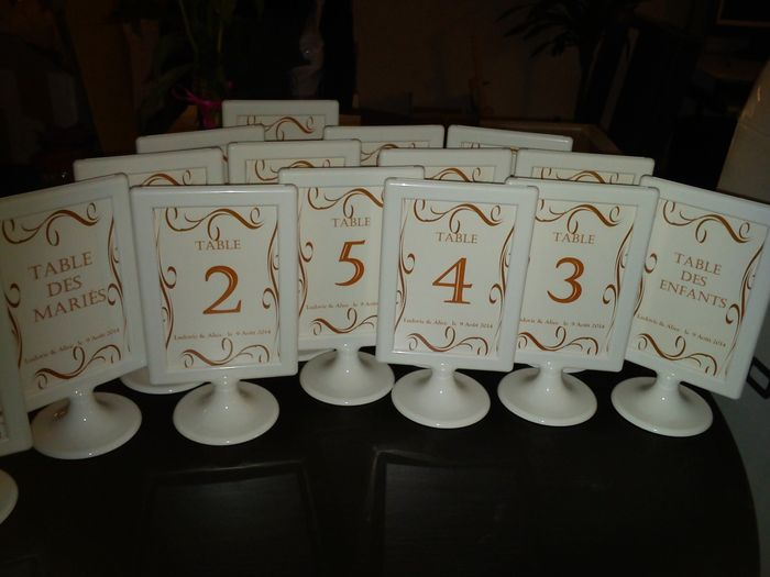 Numéros de tables
