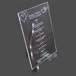 idée de menu en plexiglas