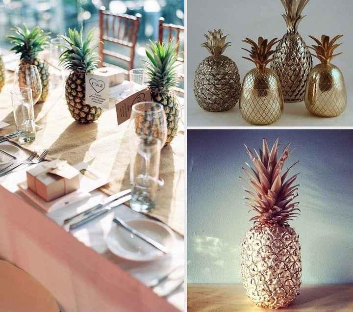 décoration de table ananas métallisé