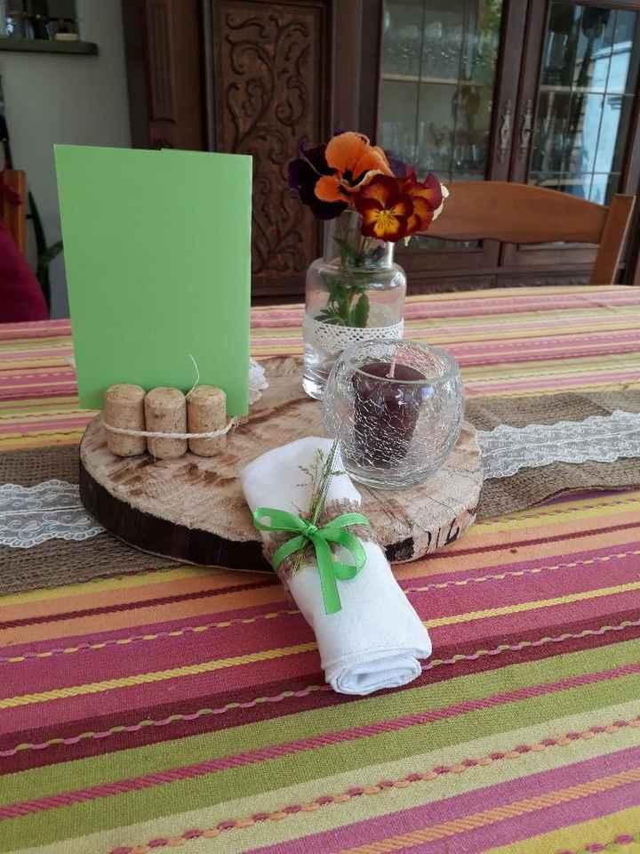centre de table avec menu et rond de serviette