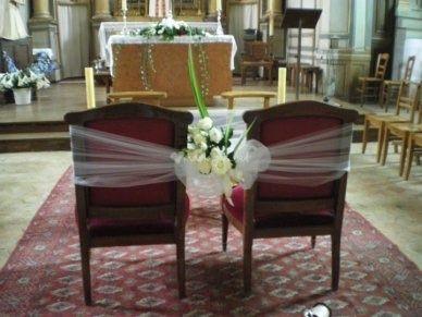 D coration florale des chaises des mari s l 39 eglise d coration forum - Deco jardin pour mariage vitry sur seine ...