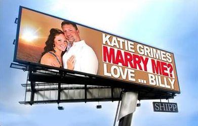 demande en mariage pancarte publicitaire