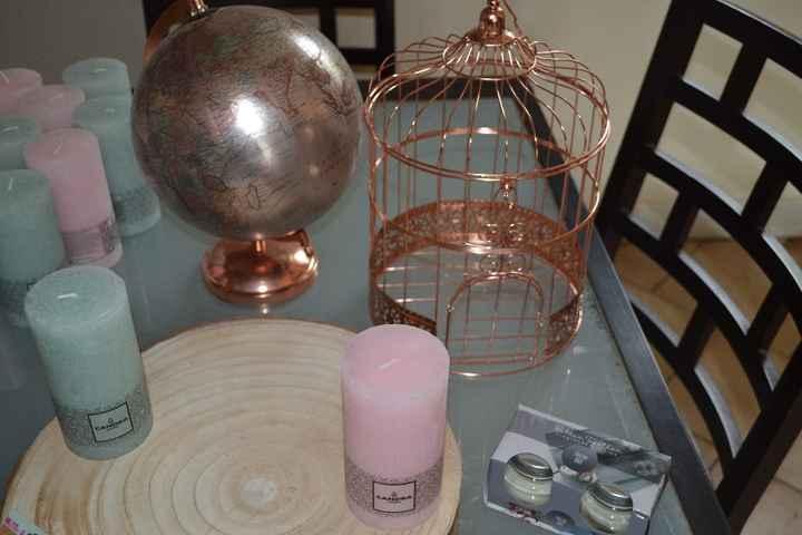 Le globe & la cage oiseaux pour la table livre d'or - Le rondin et les bougies en centre de tables