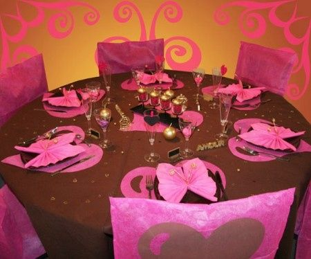 Mariage fuschia chocolat d coration forum - Decoration table mariage fushia ...