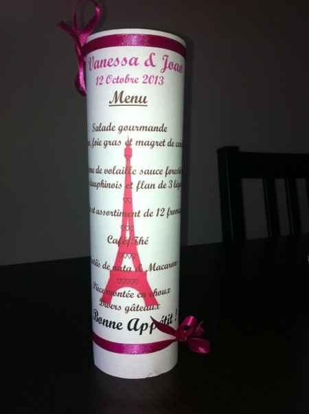 Menu photophore fuschia/chocolat thème Paris