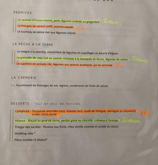 Idées menus de mariage - 1