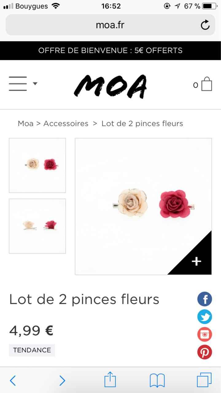J'ai craquée pour un chignon avec de jolie pinces fleurs rose - 1