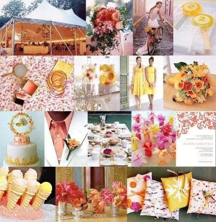 decoration mariage jaune et rose