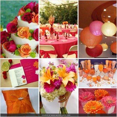 Le club du mariage rose framboise, orange et jaune - Décoration ...