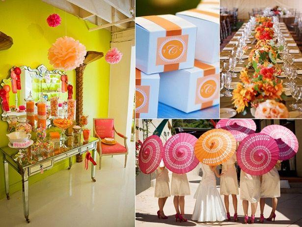 Le club du mariage rose framboise, orange et jaune
