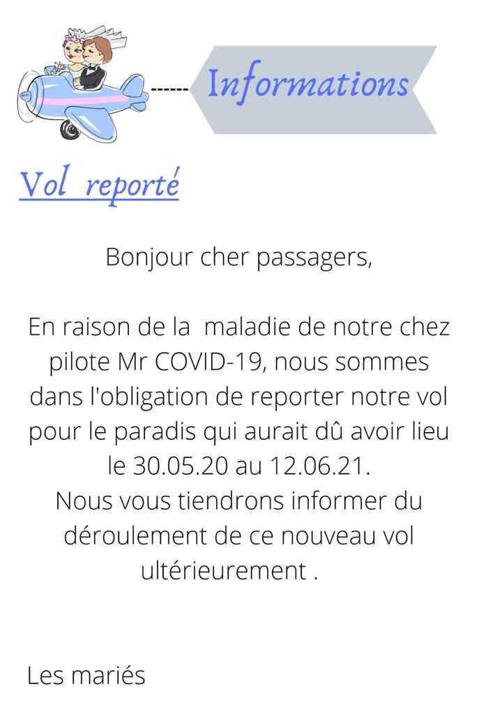 Idée de texte pour annoncer la date de report - 1
