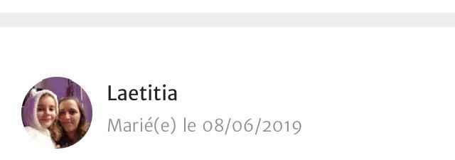 Recherche une Laëtitia mariée de juin 2019 - 1