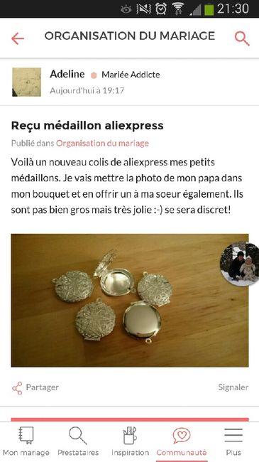 Médaillon bouquet de mariee - 1