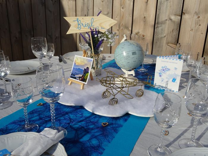 Notre centre de table thème voyage 1