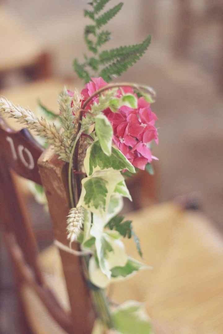 bouquet de banc DIY hortensia blé lierre fougère