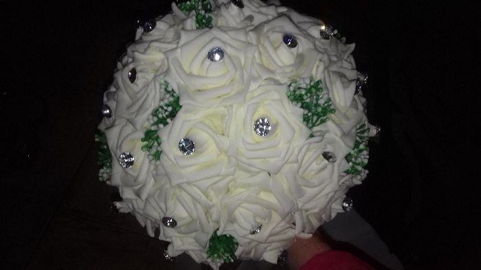 J'ai reçu mon bouquet fleur satin ivoire ! 6
