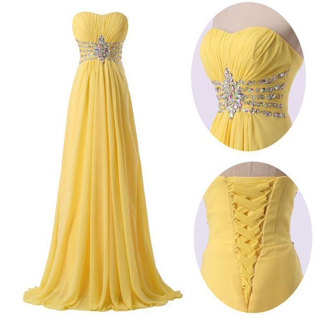 Robe demoiselle d 39 honneur pour mariage jaune mode for Robes de demoiselle d honneur pour mariage en plein air