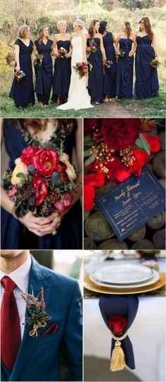 Rouge et bleu marine pour un mariage sobre et élégant !