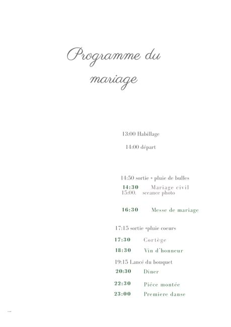 Mariage en mai stressée? /programme du mariage 4