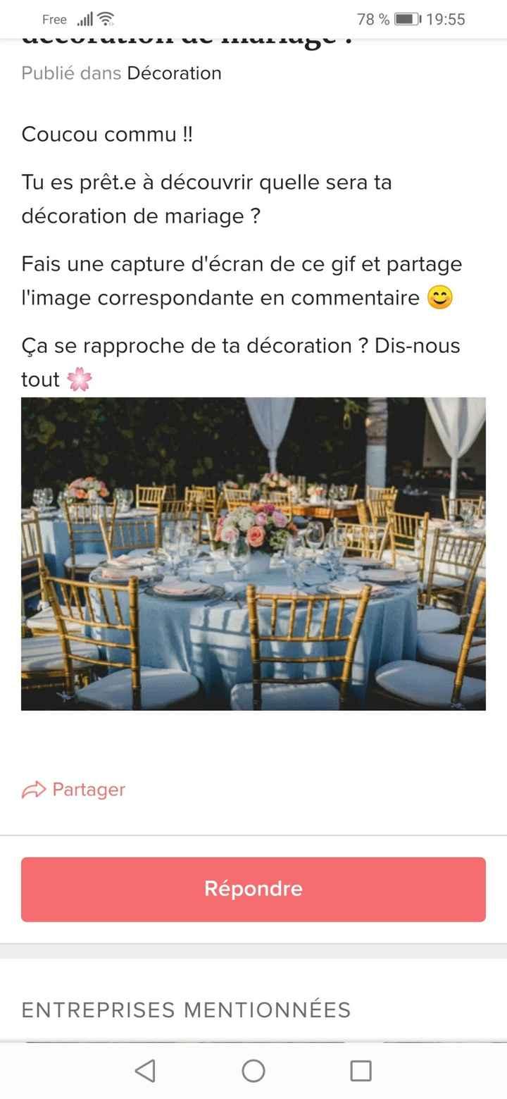 Capture l'image du GIF et découvre quelle sera ta décoration de mariage ! - 1