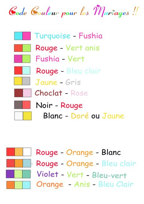 Voici des idées de code couleurs pour les futurs mariés