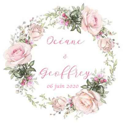 Logo Océane et Geoffrey - Rose