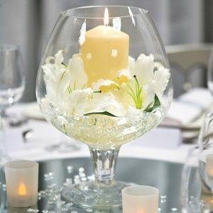 1 vase cognac bougie - Centre De Table Bougie