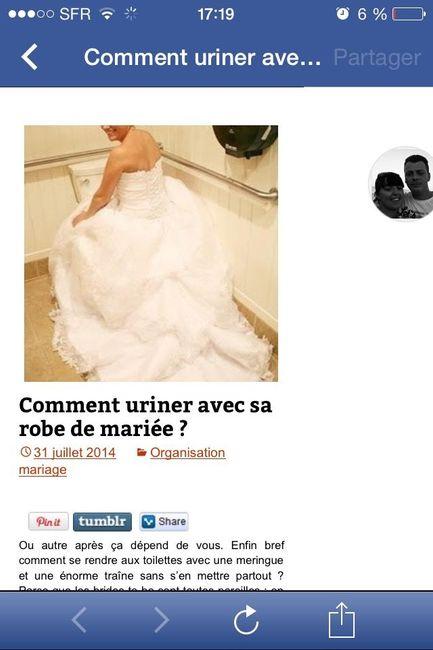 uriner avec une robe de mariée