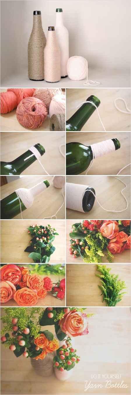 bouteille fleurs et bobine de laine