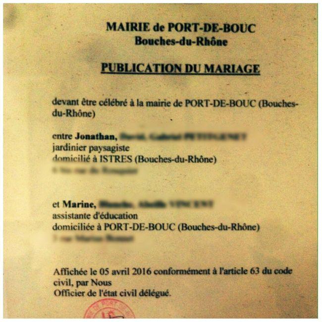 Publication des bans qui d 39 autres port de bouc bouches du rh ne forum - Publication banc mariage ...