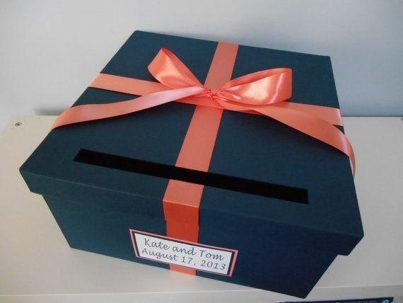 Mariage bicolore bleu marine et corail d coration - Decorer boite carton pour anniversaire ...