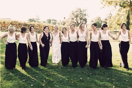 8 robe demoiselles d'honneur noir et blanc