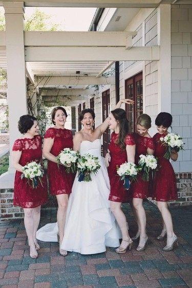 9 robe demoiselles d'honneur bordeaux