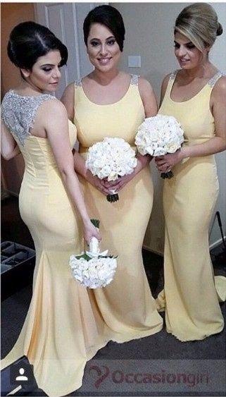 12 robe demoiselles d'honneur jaune