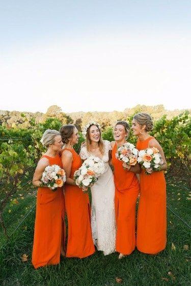 13 robe demoiselles d'honneur orange