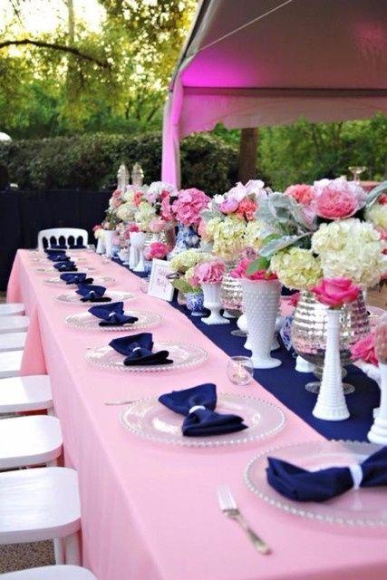 Mariage bicolore bleu marine et rose d coration forum - Deco mariage rose poudre ...