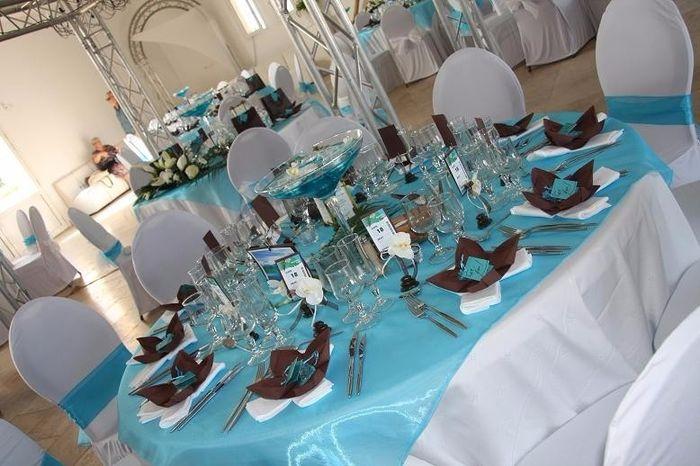 Deco Table Couleur Bleu Turquoise Et Noir : Mariage bicolore turquoise et chocolat décoration