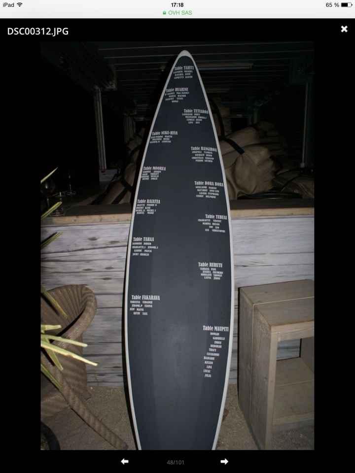 Plan de table - planche de surf - 2