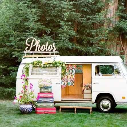Le photobooth, dans un van, devant une toile, dans un coin de nature,...