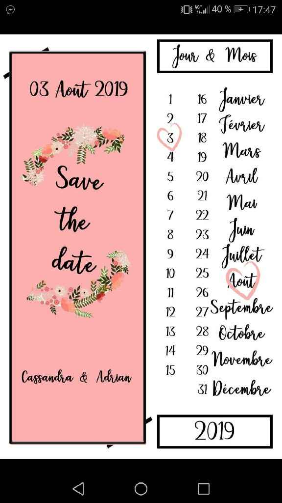 Premiers exemples de save the dates - 1