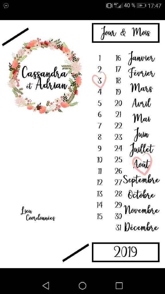 Premiers exemples de save the dates - 2