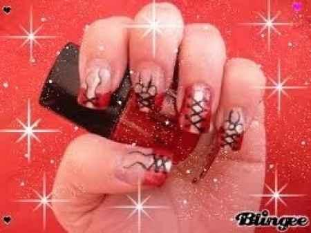 nail art rouge et blanc