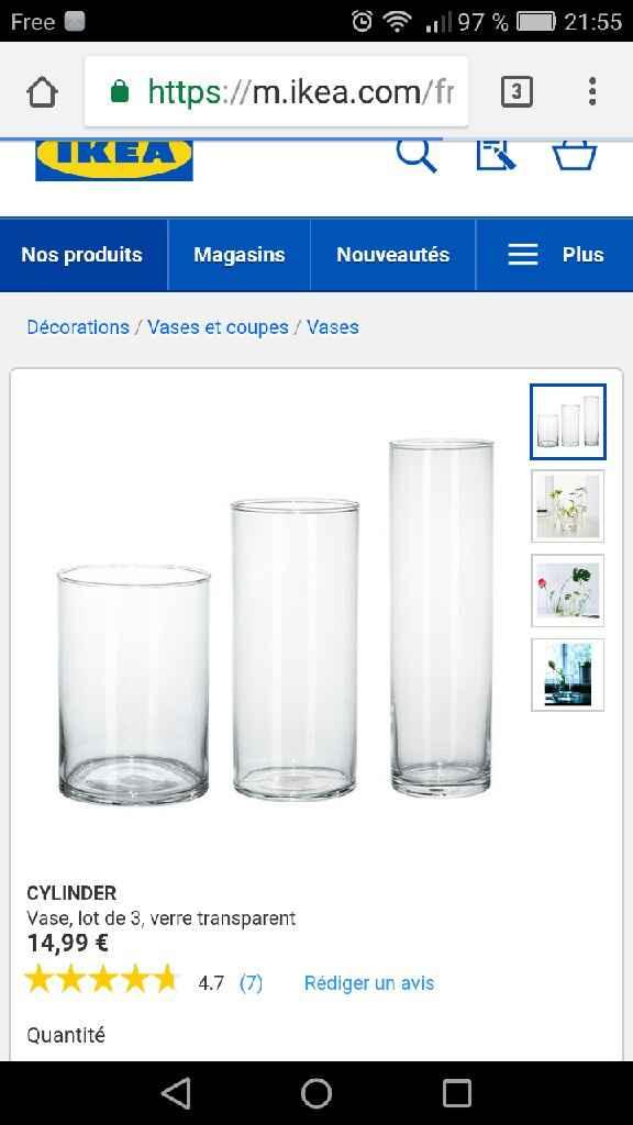 Centre de table , 3 vases «cylinder» ikea - 1