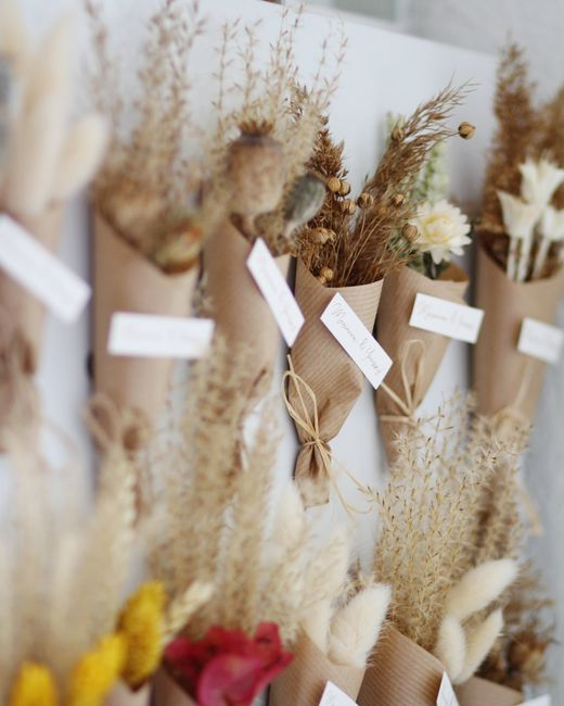 Cadeaux invités magnets en fleurs séchées - 1