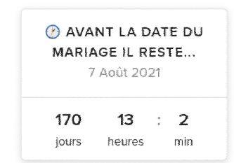 Avant la date du mariage il reste... 1