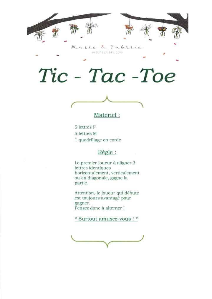 """affichette tic-tact-toe ou """"morpion"""" mais je n'aime pas le nom pour un mariage"""